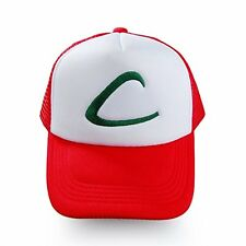 New Pokemon Ash Ketchum Adjustable Mesh Cosplay Hat Free White Red Cap Hot New