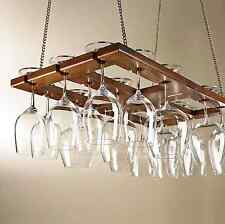 Overhead Mount Mahogany Hanging Stemware Wine Glass Display Storage Holder Rack