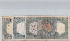 FRANCS LOT DE TROIS 1000 FRANCS 6.12.1945 / 2.12.1948 / 15.12.1949 PICK 130a/b