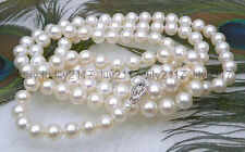 "AAAA+Gorgeous 6.5-7mm round white akoya pearl necklace 50"" 14k white gold clasp"