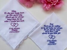 Personalized Set Wedding Gift Handkerchief For Mother And Father Of Bride