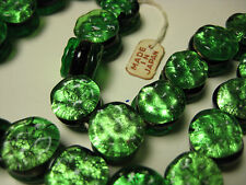 Vintage Japan Foil Glass Beads 12mm Double Sided Flat Rare 1 strand/25 beads