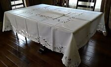 "72x90""Large Embroidered White Rose Tablecloth Topper Wedding Party Home Decor"