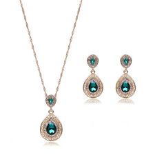 Charming Teardrop Rhinestone Gold Plated Earrings Pendant Necklace Jewelry Sets