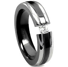 TITANIUM TENSION RING with CZ AND BLACK ACCENT BAND - sizes 9, 10, 11