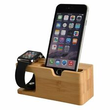 Soporte de doble estación base de madera de carga para Apple Watch 1 2 iPhone 5 6S 7 6 Plus