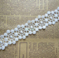 1 yard Vintage off White/Ivory Embroidered Lace Trim Ribbon Wedding Applique DIY