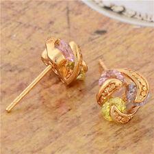 Cute Yellow Gold Filled jewelry Rainbow Topaz Womens Flower Hoop Earrings
