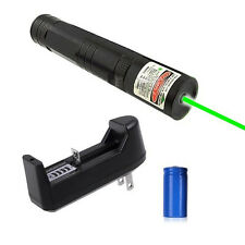 Top 3in1  532nm Green Laser Pointer Pen Lazer Beam Light +16340 Battery+Charger