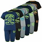 KIDS 2 PIECE T-SHIRT & SHORTS SET UNIVERSITY PRINT GIRLS BOYS TOP BOTTOMS 3-12 Y