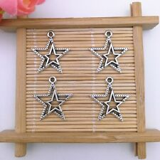 Wholesale 10pcs Tibet Silver Lucky Star Charm Pendant Beaded Jewelry