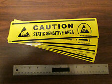 CAUTION STATIC SENSITIVE AREA Warning Stickers 3X12 Inches Yellow Pkg Of 10 New