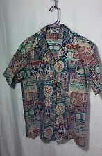 NICE Men's Hilo Hattie Hawaii Button up Short Slevee Shirt-Floral-USA Made-L