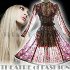 VINTAGE INDIAN DRESS MAYUR 70s GAUZE 6 8 10 12 14 16 HIPPY 60s BOHO WEDDING POET