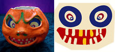 """GLASSINE REPLACEMENT FACE FOR THE """"SNEERING JOL"""" HALLOWEEN PAPER MACHE LANTERN S"""