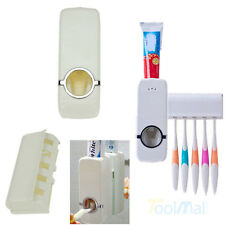 White Automatic Toothpaste Dispenser+ 5 Toothbrush Holder Set Wall Mount Stand