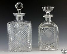 Two Old Cut Glass Decanters Grape Etch and Sharp Cut
