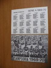 CAMPIONATO DI CALCIO SERIE A 1969-1970 FOTO FORMAZIONE SCHIERATA SAMPDORIA