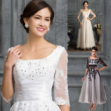 Mother Of The Bride Applique Lace+Tulle Gowns Evening Prom Party Dreses White 20