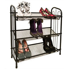 MESH - 3 Tier Metal Shoe / Book / CD / DVD Storage Rack - Black YRIHSC182