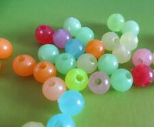 Freeshipping Jewelry Making DIY 40pcs 8mm Round Luminous Glow Beads Crafts Mix
