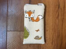 Handmade Glasses Sunglasses Zipped Case Pouch - Fryett's Woodland Fox Fabric