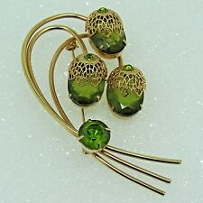 D&E Juliana for SARAH COVENTRY Touch of Elegance BROOCH Book Piece Green Glass
