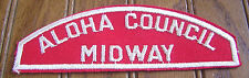 ALOHA COUNCIL PATCH OA 567 554 HAWAII MIDWAY DISTRICT RED WHITE STRIP RWS MINT!