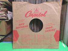"""CAPITOL '1600' RECORDS COMPANY FACTORY PAPER SLEEVE ONLY NO RECORD 10"""" 78 RPM"""