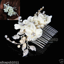 Elegant Wedding Prom Bridal Jewelry Beige Flower Hair Comb w/ Rhinestone & Pearl