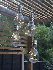 5 Solar Powered WHITE LED Hanging Light Bulbs Solar Garden Lights Clear
