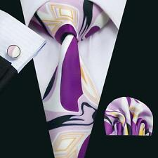 NEW ITALIAN DESIGNER PURPLE RETRO SILK TIE, HANKY & CUFFLINKS
