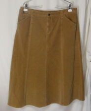 EDDIE BAUER 16 Camel Brown CORDUROY A Line Panel Skirt Calf Length