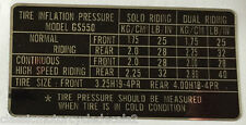 SUZUKI GS550 TYRE PRESSURE CAUTION WARNING DECAL LABEL