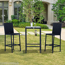 Outsunny 3pc Patio Rattan Bistro Set Barstool Table Wicker Furniture Black
