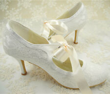 Stunning Handmade Ivory Lace Bridal Shoes Mary Janes Lace Wedding Shoes UK3-8