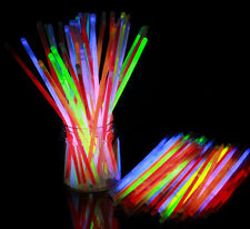"100Pcs 8"" Glow Stick Bracelet Necklaces Neon Party Multi Color Christmas GO"