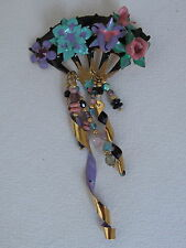 Lunch at the Ritz Enamel Flowers on a Fan PIn Enamel and Beads