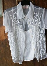 RENE DERBY WHITE LACEY EMBROIDERY 2PC SIZE SMALL SHIRT SEE THRU NETTING