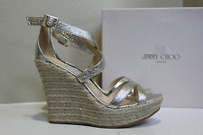 10.5 40.5 Jimmy Choo Porto Silver Leather Platform Espadrille Wedge Sandal Shoe