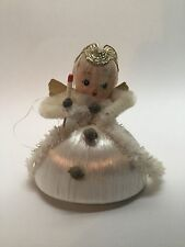 VINTAGE ANGEL HOLDING CANDLE MERCURY BEADS CHENELLE CHRISTMAS ORNAMENT  W10