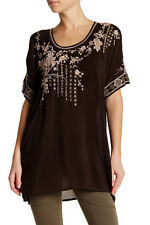 $220 NWT Johnny Was Oasis Embroidered Dark Cocoa Tunic Blouse Tee Top M fits L