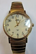 "TIMEX INDIGLO MEN'S QUARTZ WATCH SWISS 1 1/4"" FACE GOLD TONE WATER RESISTANT"