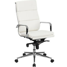 MODERN HIGH BACK OFFICE CHAIR White Leather Designer Conference Meeting Room NEW