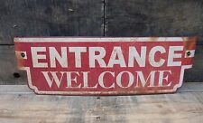 "ENTRANCE WELCOME 1950's retro Game Room Home Theater 22"" Door Tin Metal Sign"