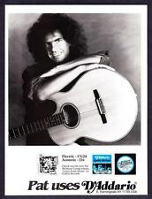 1990 Guitarist Pat Metheny photo D'Addario Guitar Strings promo print ad