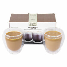 2 x Le'Xpress Insulated Double Wall Cappuccino Glasses Coffee Tea Mugs Cups
