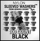 100 Nylon Sleeve BLACK Tension Rod Washers Drum Hoop