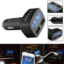 Best 4 In 1 Dual USB Car Charger Adapter Voltage DC 5V 3.1A Tester For iPhone UY