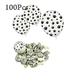 100Pcs White Balloons with Black Paw Prints Kids' Party Supplies